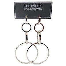 Long Stainless Steel Four Graduating Rings Drop Earrings, Pierced Posts, Shoulder Dusters