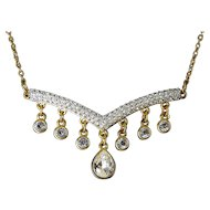 Swarovski Gold-Plated V-Bar Necklace with Crystal Drops