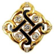 Swarovski Endless Knot Gold-Plated, Black Enamel & Crystals Pin