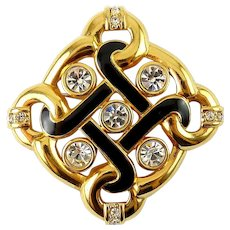 Swarovski Endless Knot Gold-Plated, Black Enamel & Crystals Pin