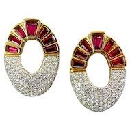 Vintage Swarovski Ruby Baguette, Crystal Pave' Rhinestone Doorknocker Earrings