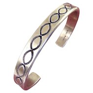 Navajo Tahe Signed Sterling Silver Cuff with Stamped Ovals, Lg Size, 48 Grams