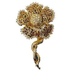 Vintage Gold Tone Tall Flower on Stem Brooch Pin, Rhinestone Center