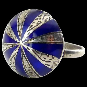 Vintage Thailand Sterling Silver & Cobalt Enamel Dome Ring