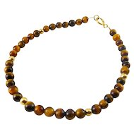 Tiger's Eye Quartz & 14K Yellow Gold Beads Bracelet