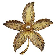 Vintage Topazio Gilt Sterling Silver Filigree Flower Pin with Faux Pearl