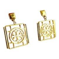 Tory Burch Gold Tone Large Square Logo Dangle Earrings, Pierced