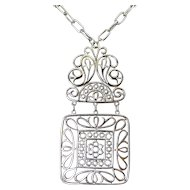 1970's TRIFARI Mod 2 Part Hinged Pendant Necklace - Silver Tone Square with Flowers & Scrolls