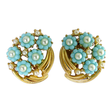1960's Trifari Aqua Flowers & Faux Pearls Gold Tone Clip Earrings