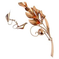 1940's TruArt Sterling Very Tall Silver Rose Gold Finish Large Spray Pin & Earrings with Amber Drops
