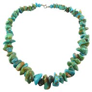 Natural Turquoise Nugget Beads Necklace, Native American, Several Colored Minerals in Matrix