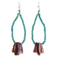 Turquoise & Purple Spiny Oyster Bead Long Hoop Earrings -Native American, Southwest, Sterling Wires