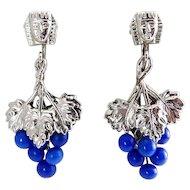 1920s Egyptian Revival King Tut Head & Blue Glass Grape Cluster Drop Ears - Art Deco