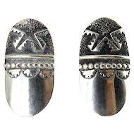 Tommy Singer, Navajo, Sterling Silver Large Oval Earrings, Pierced