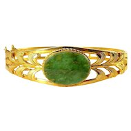 Van Dell Gold Filled Jade Hinged Bangle Bracelet, Cut-Out Flourishes