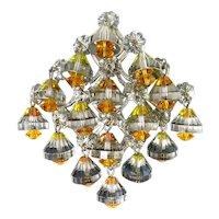 Fabulous Vintage VENDOME Brooch Pin, Swarovski Rivoli Bell & Margarita Bead Drops, Diamond Shape Frame