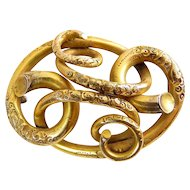 Large Victorian Gold-Filled Engraved Love Knot Brooch Pin, Civil War Era