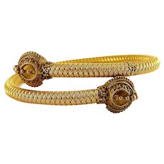 Victorian Etruscan Revival Woven Mesh & Ball Ends Bypass Bangle Bracelet