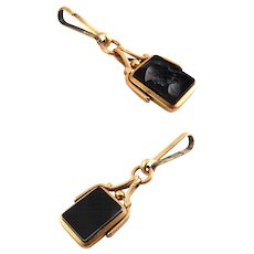 Victorian Rose Gold-Filled, Onyx Intaglio Spinner Watch Fob - Roman Soldier & Plain Side