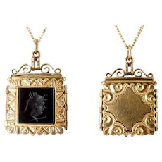 Victorian Rose Gold-Filled, Onyx Intaglio, Reversible Square Photo Locket Pendant Fob with Chain Necklace