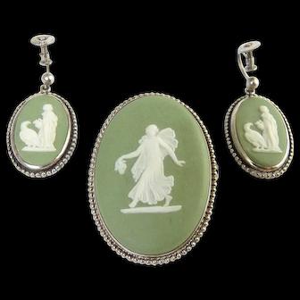 1930's Wedgwood Green Jasperware Goddess Cameo Pin & Earrings Set