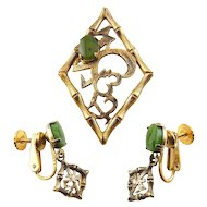 WELLS Sterling Gold-Filled Vermeil & Jade Bamboo Asian Style Pin & Earrings