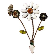 Fanciful Bronze Tone Flowers & Bird Brooch Pin, Multicolor Rhinestones & Pearl