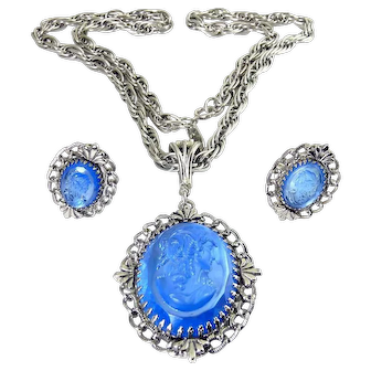 Whiting & Davis Blue Glass Cameo Pendant & Clip Earrings, Victorian Style, Excellent Condition