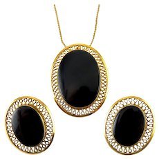 1960's Winard Gold-Filled & Onyx Pin Pendant & Earrings, Convertible Brooch