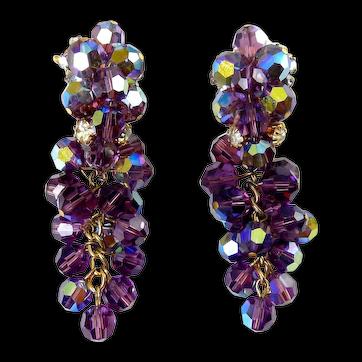 1960's Amethyst Purple AB Glass Bead & Rhinestone Drop Earrings, Comfy Wingback Tops, Non Pierced