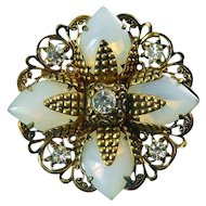 1960's West Germany Opal Glass Filigree Flower Pin with Rhinestones