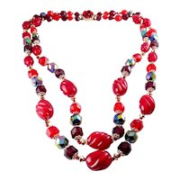 Gorgeous West Germany Red & Garnet Colors, Multi Shape Lucite Beads 2- Row Necklace, Beaded Clasp
