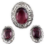Whiting & Davis 1960's Victorian Revival Amethyst Purple Glass Pin & Earrings Set