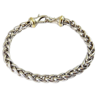 David Yurman Sterling Silver & 14K Wheat Chain Bracelet, Ornamental Clasp