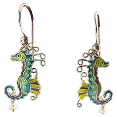 Vintage Zarah Sterling Silver, Enamel & Pearl Drop Seahorse Earrings