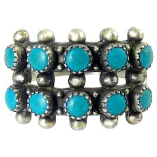 Zuni Sterling Silver & Petit Point Turquoise 2-Row Ring