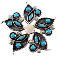Zuni Sterling Silver & Turquoise Needlepoint Flower Pin, Petit Point Inlay