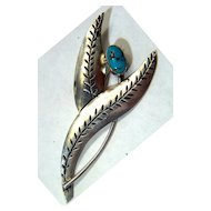 Vintage Large Native American Navajo Sterling Silver Stamped Leaves & Turquoise Stone Pin Brooch