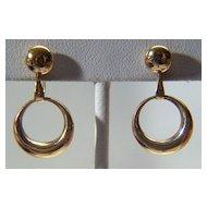 Vintage 14K Yellow Gold Screw Back Dangling Hoop Earrings