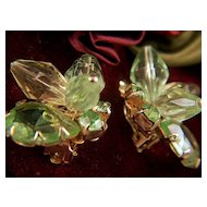 Vintage Lucite and Glass Pale Yellow and Lime Clip Earrings
