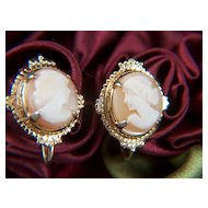 Vintage Shell Cameo Gold Plated Screw Back Earrings