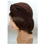 Vintage 1940s Brown Felt Fitted Hat ~ Ida May Los Angeles Label