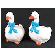Vintage signed Ceramic B&D Japan Ducks / Geese with Blue Scarves Candle Holders / Sticks
