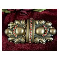 Vintage Antique Gold Toned Metal Belt Buckle with Red Rhinestones