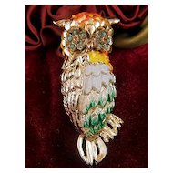 Vintage Pale Gold Toned Enamel Rhinestone Beads Owl Brooch Pin