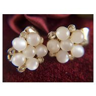Vintage signed Coro Moonglow and Rhinestone Clip Earrings