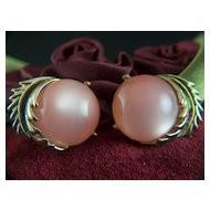 Vintage signed CORO Pink Moonglow Clip Earrings