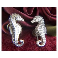 Vintage Sterling Silver Sea Horses Screw Back Earrings