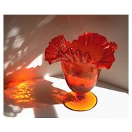 Vintage Blenko Art Glass Crimp Top Crackle Bell Vase - #388 - Tangerine 1950s