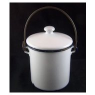 "Vintage Small White with Black Trim Enamel Covered Pot - 5"" high"